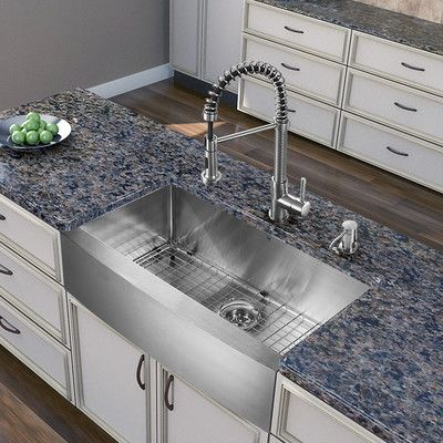 Bedford 30 L X 22 W Farmhouse Kitchen Sink With Faucet With