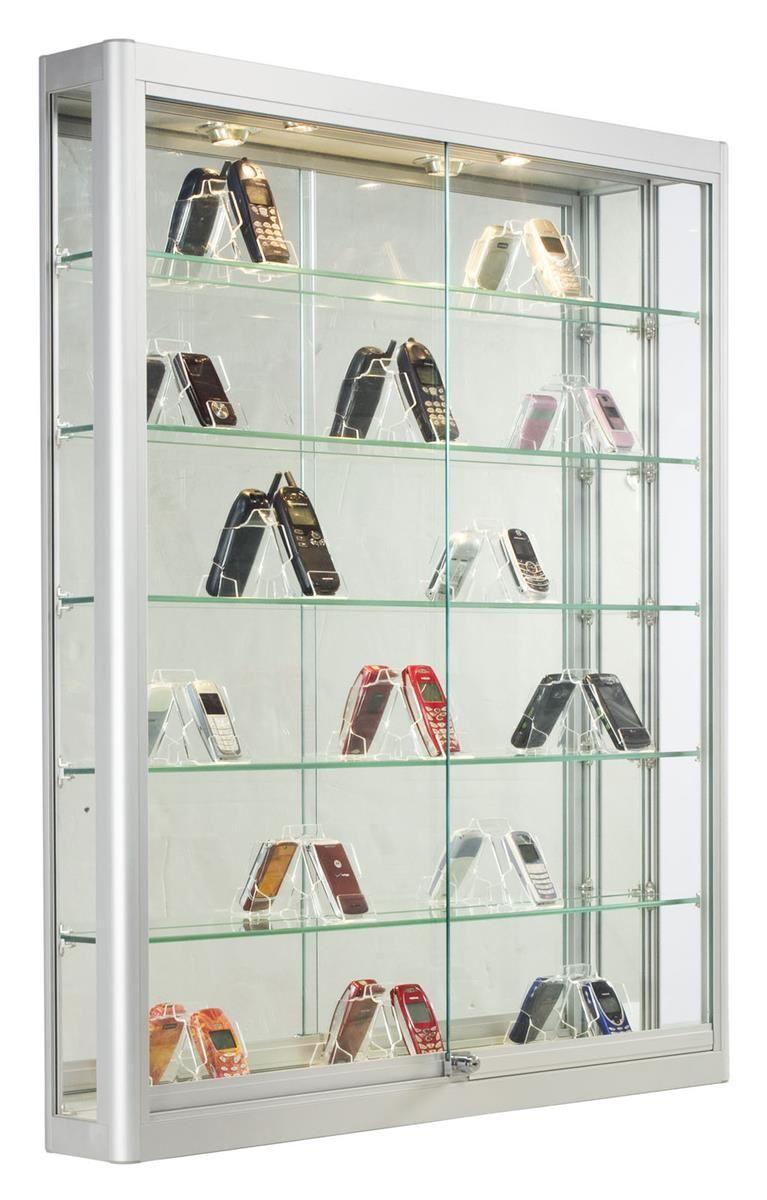 3x4 Wall Mounted Display Case W Slider Doors Mirror Back