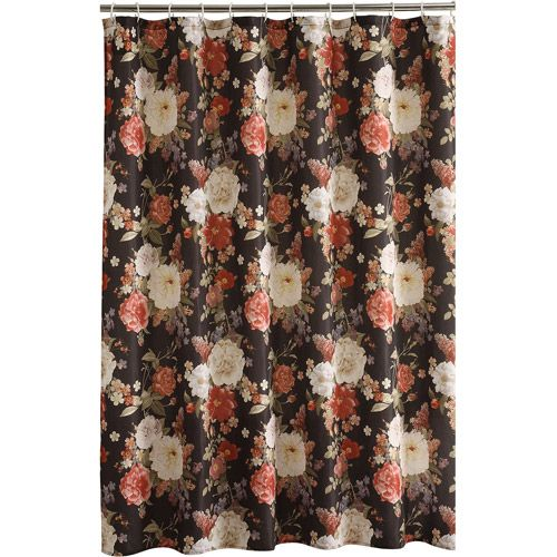 $9.97 Mainstays Cabbage Rose Shower Curtain