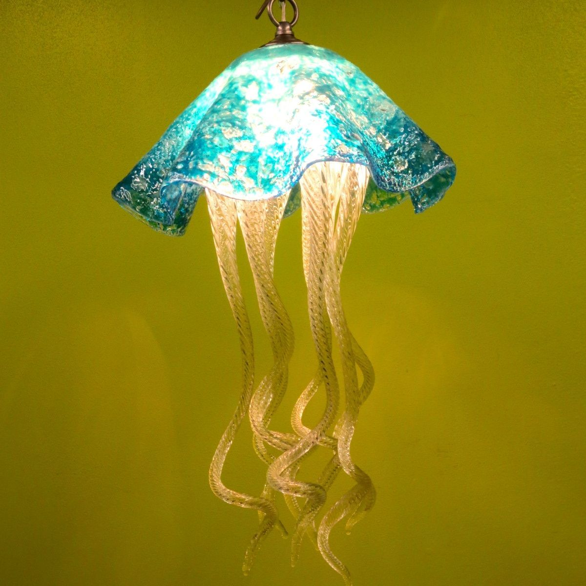 Anthony primo primo glass lighting long branch nj light up this interesting jellyfish is made with fused and blown glass the head of the jellyfish is made with clear turquoise and white crushed glass aloadofball Choice Image