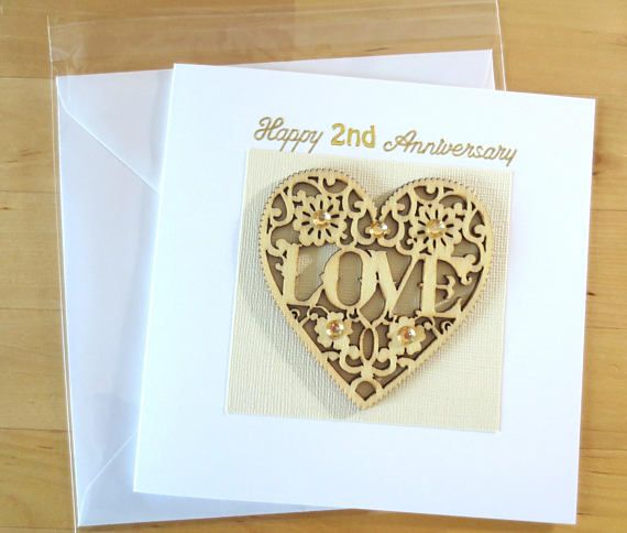 Luxury Unique 1st First Anniversary Card Gift For Husband Wife 2nd