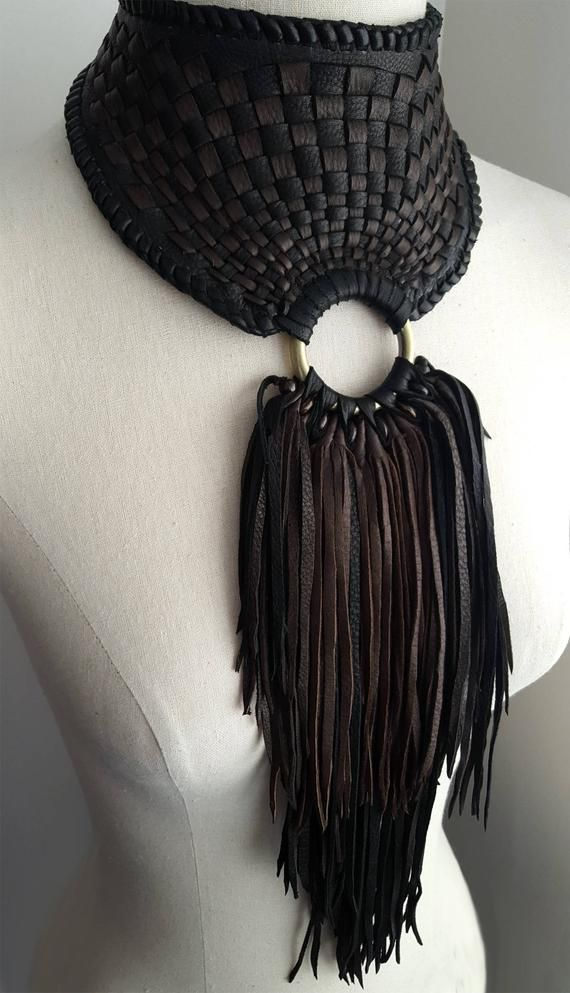 Leather Statement Necklace Braided Leather Ties Wo