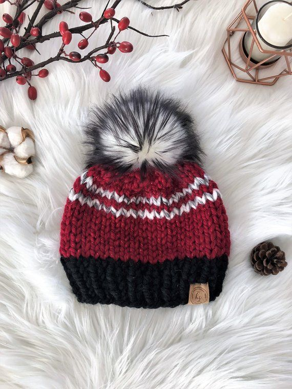 f74d4aabfe5 Knitted Christmas Hat Newborn Baby Toddler Hat Red White Black Faux Fur  Pom-Pom Beanie Winter Hat Ph