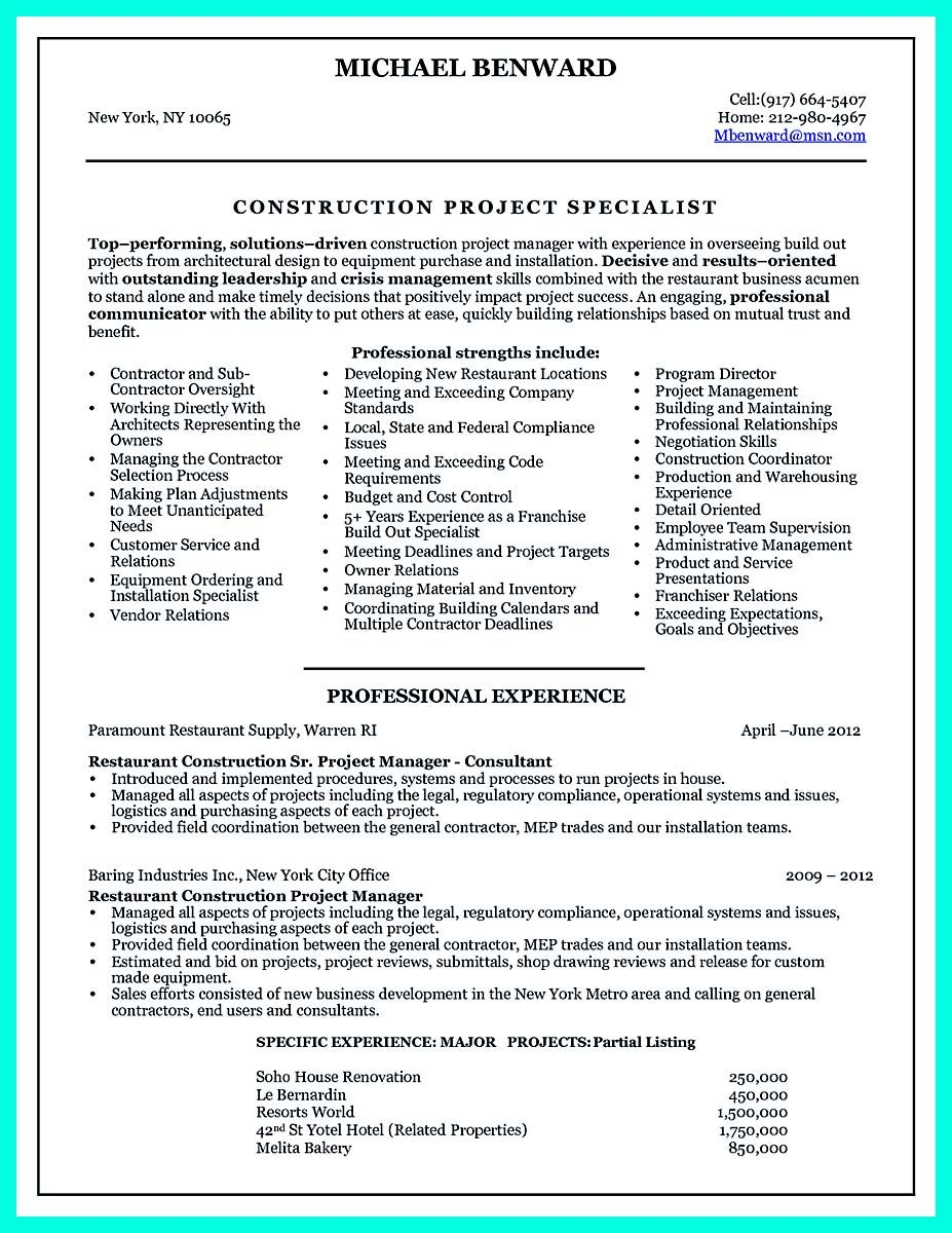 Awesome Perfect Construction Manager Resume To Get Approved Check