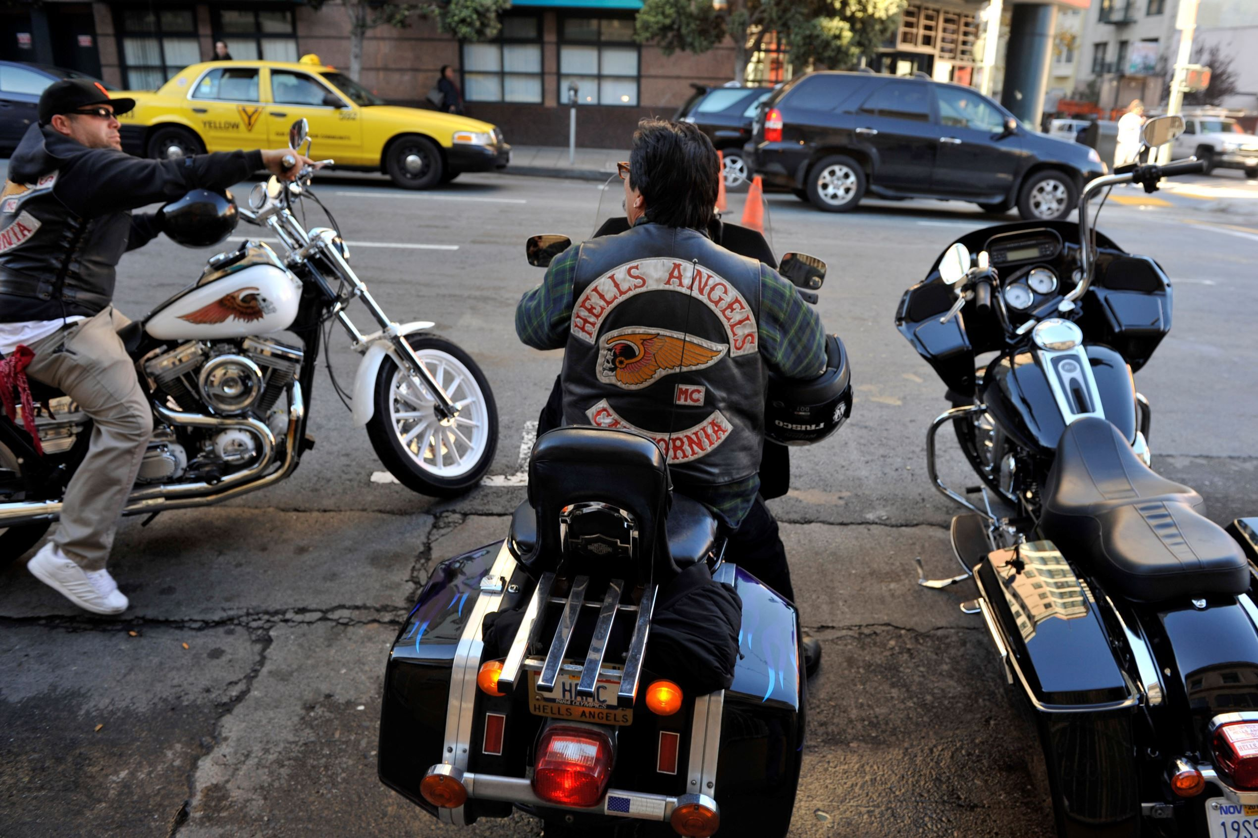 Members of the San Francisco chapter of the Hells Angels motorcycle