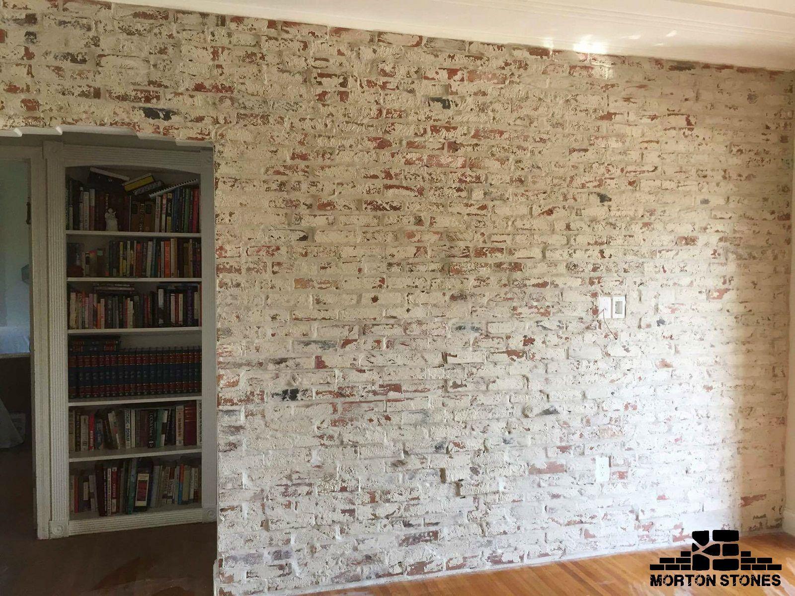 Cozy Living Room Design With A White Brick Wall Mortonstones Brick Tiles Rustic Home Decor Brickve Brick Veneer Wall Thin Brick Veneer White Wash Brick