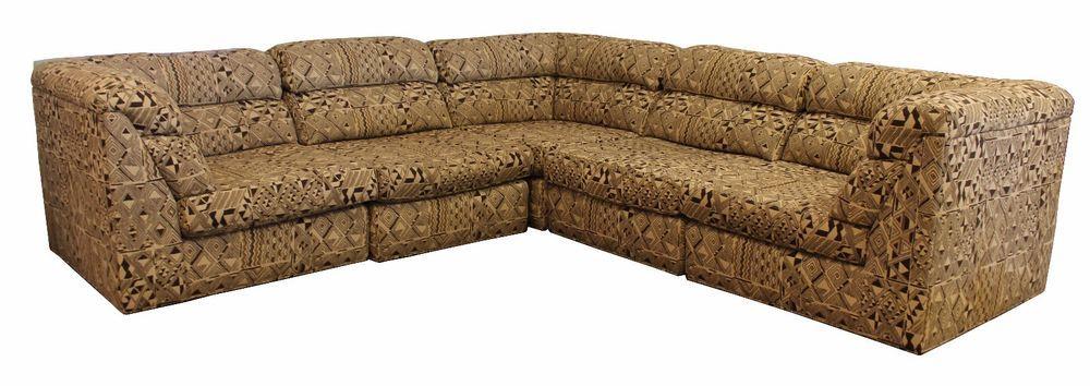 Mid Century Modern Paloma Pico Pattern Fabric Sectional Sofa Baughman Era