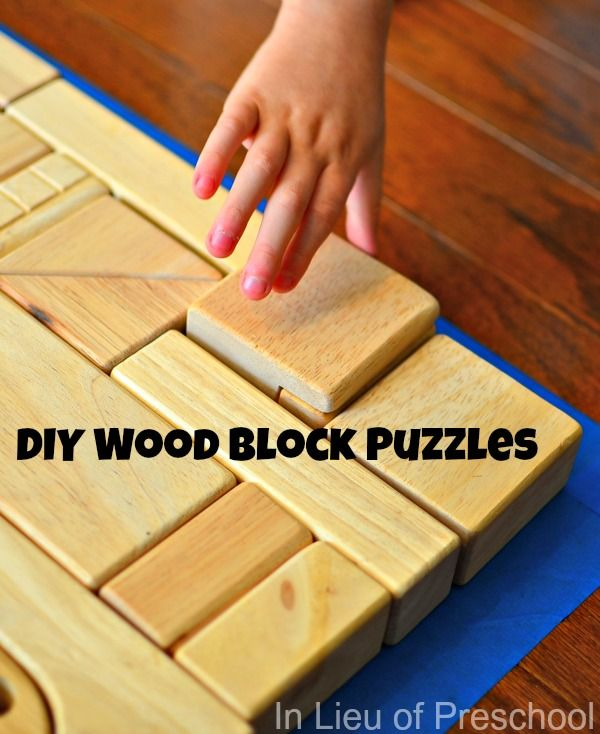 Diy Wood Block Puzzles For Kids Put Painters Tape Down And Have