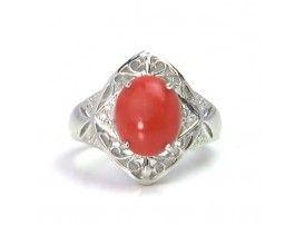 2.75 ct Coral & 0.07 ctw Diamond 18K White Gold Ring