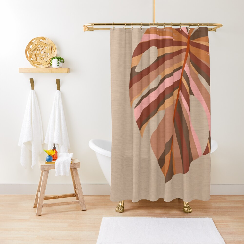 Single Monstera Leaf Earthy Terracotta Pink And Taupe Shower