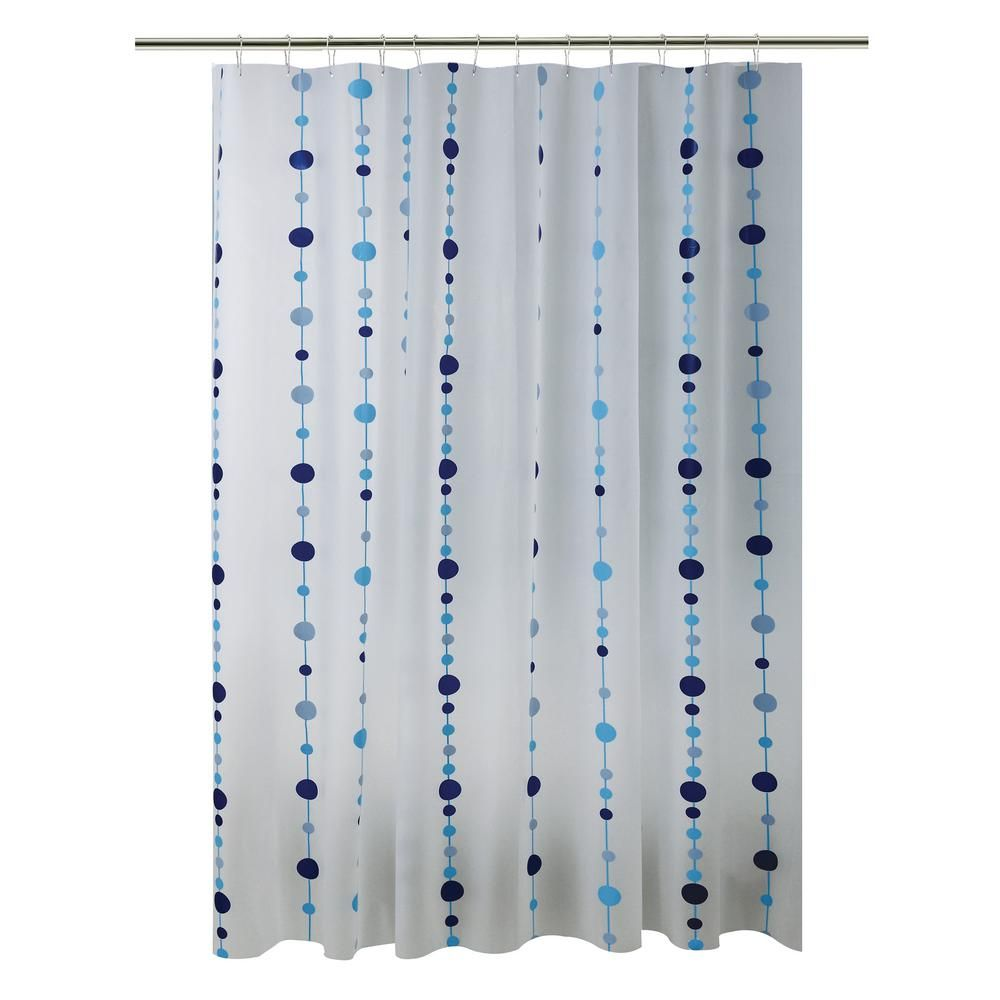 Bath Bliss Peva 70 In X 72 In Blue Chandelier Design Shower Curtain 5385 Blue Chandelier Fabric Shower Curtains