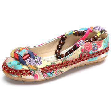 fce047f06ed07 Hot-sale Bead Chain Knitting Butterflyknot For Women Vintage Retro National  Wind Lace Up Flat