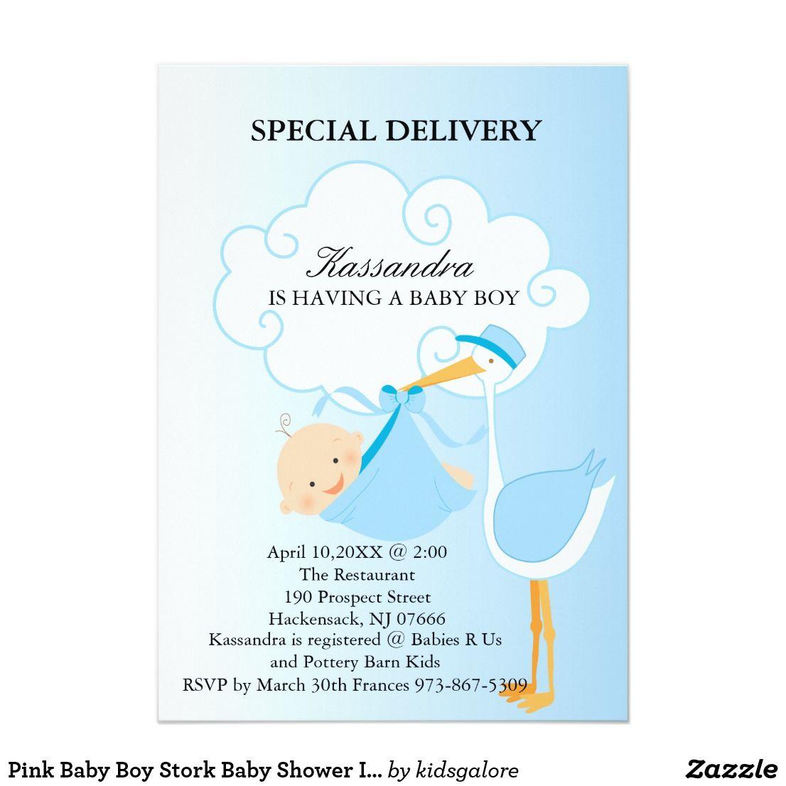 Pink Baby Boy Stork Baby Shower Invitation | Stork baby showers ...