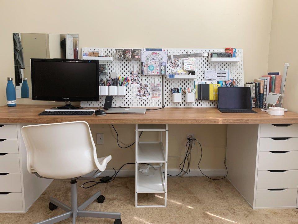 Ikea Desk With Alex Drawer Jonaxel Shelf And Saljan Countertop Ikeahacks In 2020 Ikea Desk Ikea Desk