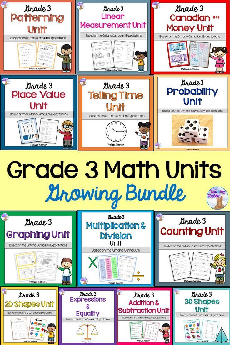 Grade 3 Math Units GROWING BUNDLE Tario Curriculum