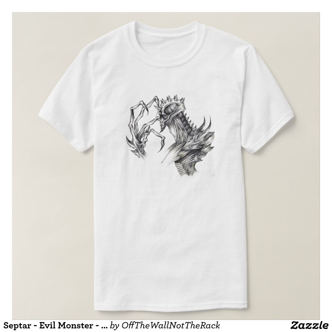Septar - Evil Monster - Black & White Pen Sketch T-Shirt