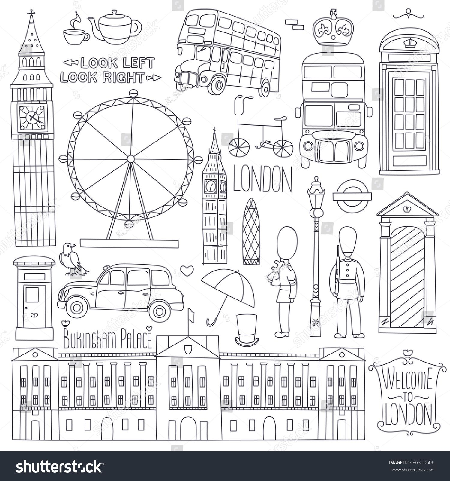 Photo of Collection of London Symbols Set of Outline Image vectorielle de stock (libre de droits) de 486310606