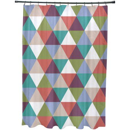 Simply Daisy 71 inch x 74 inch Traingles! Geometric Print Shower Curtain, Blue
