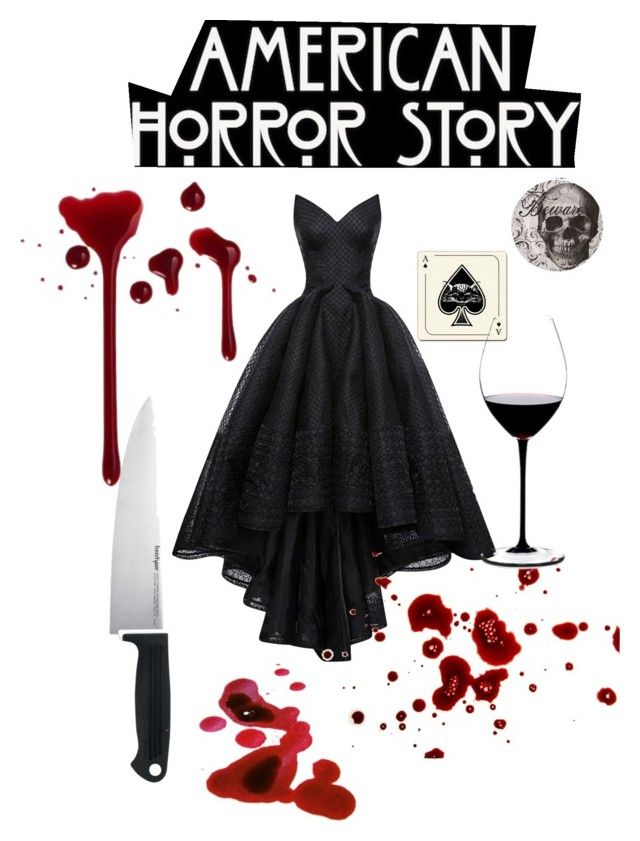 """American horror story"" by pinkcrema on Polyvore featuring moda, Zac Posen, Kershaw, Avenida Home ve Riedel"