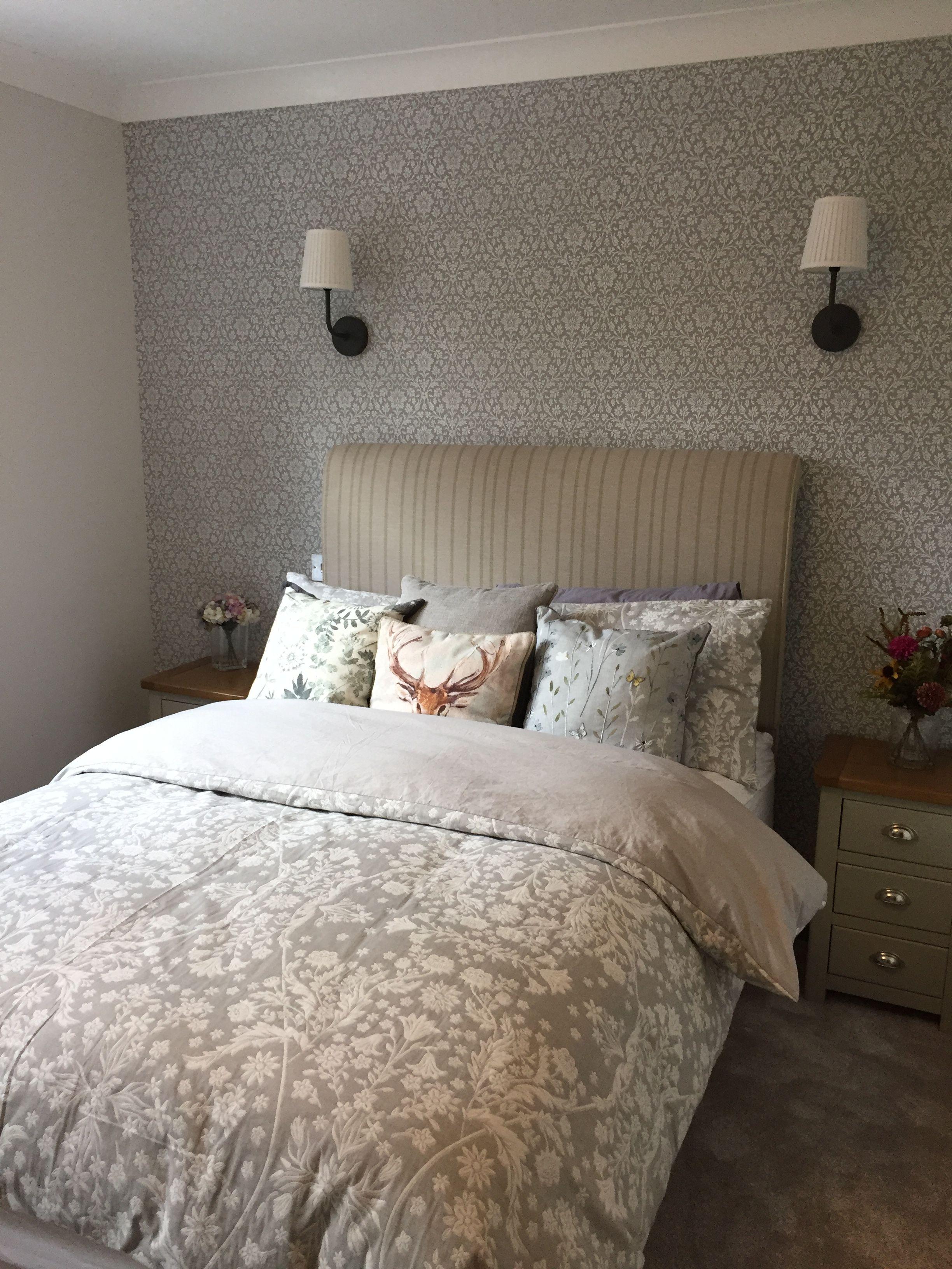 Guest room Laura Ashley annecy wallpaper Ikea wall light Neptune