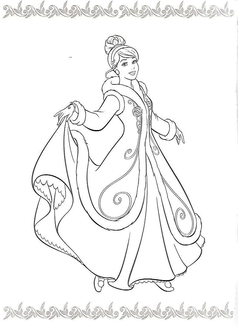 Disney Princesses Printable Coloring Pages Lets Coloring Cinderella In Winter Coat Coloring Page Disney Coloring Pages Cinderella Coloring Pages Coloring Books