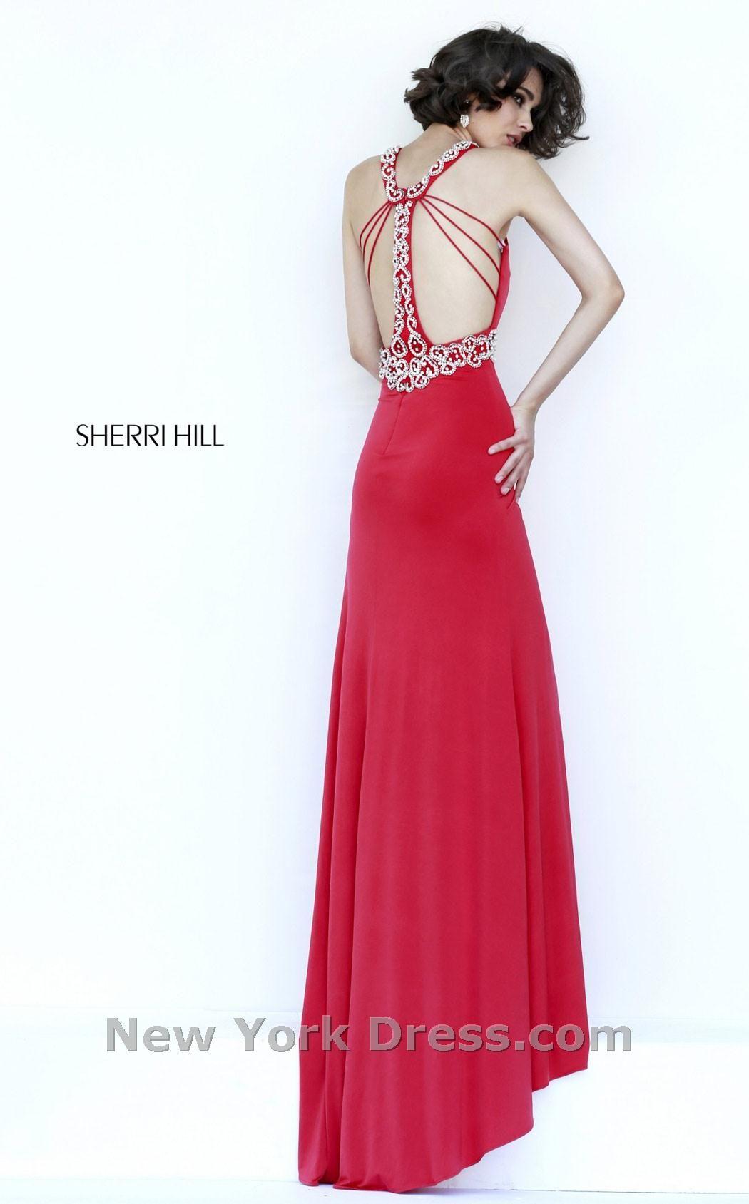 2015 Sherri Hill Sexy Back 8550 Red Beaded Jersey Evening Dress