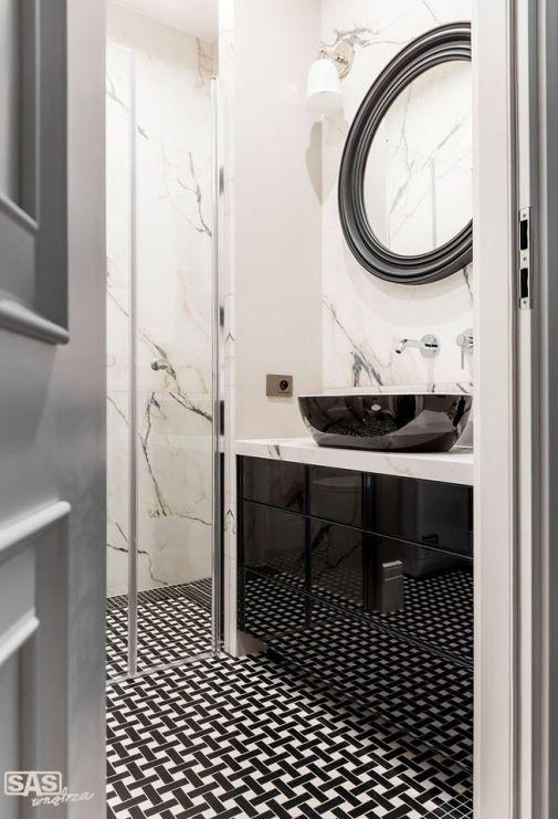 Wzorzysta Podłoga W Czarno Białej łazience Lovingitpl