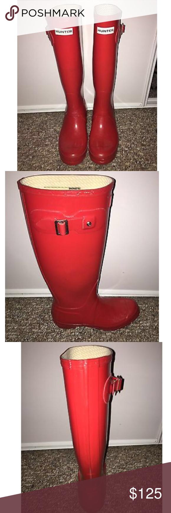 Hunter rain boots Red high gloss! Tall hunter rain boots Hunter Boots Shoes Winter & Rain Boots
