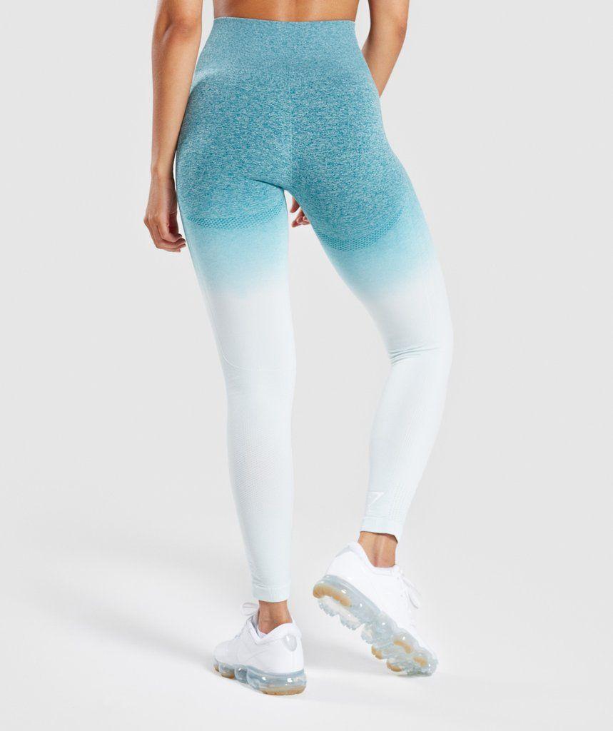 8d59bef458a056 Gymshark Ombre Seamless Leggings - Deep Teal/Ice Blue 2 | Gymshark ...