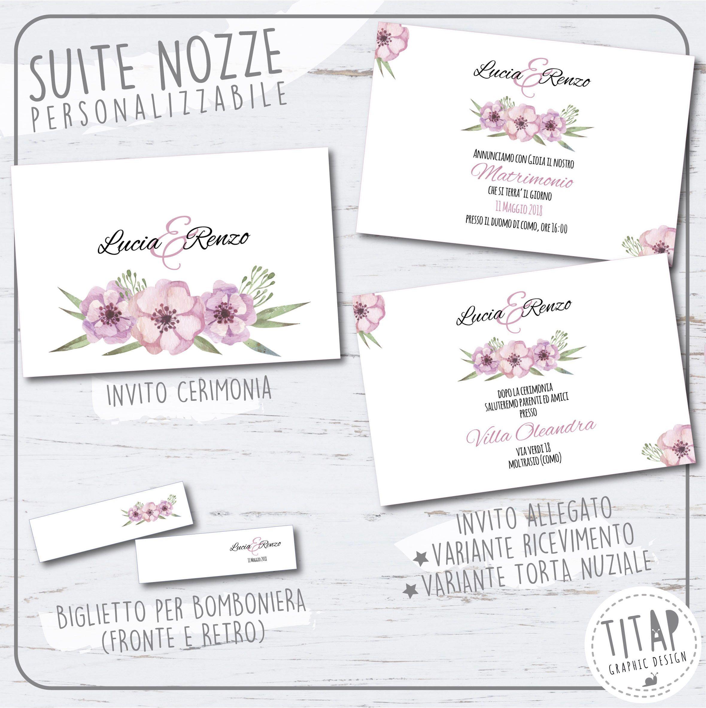 Partecipazione Floreale Stampabile Personalizzabile Set Completo