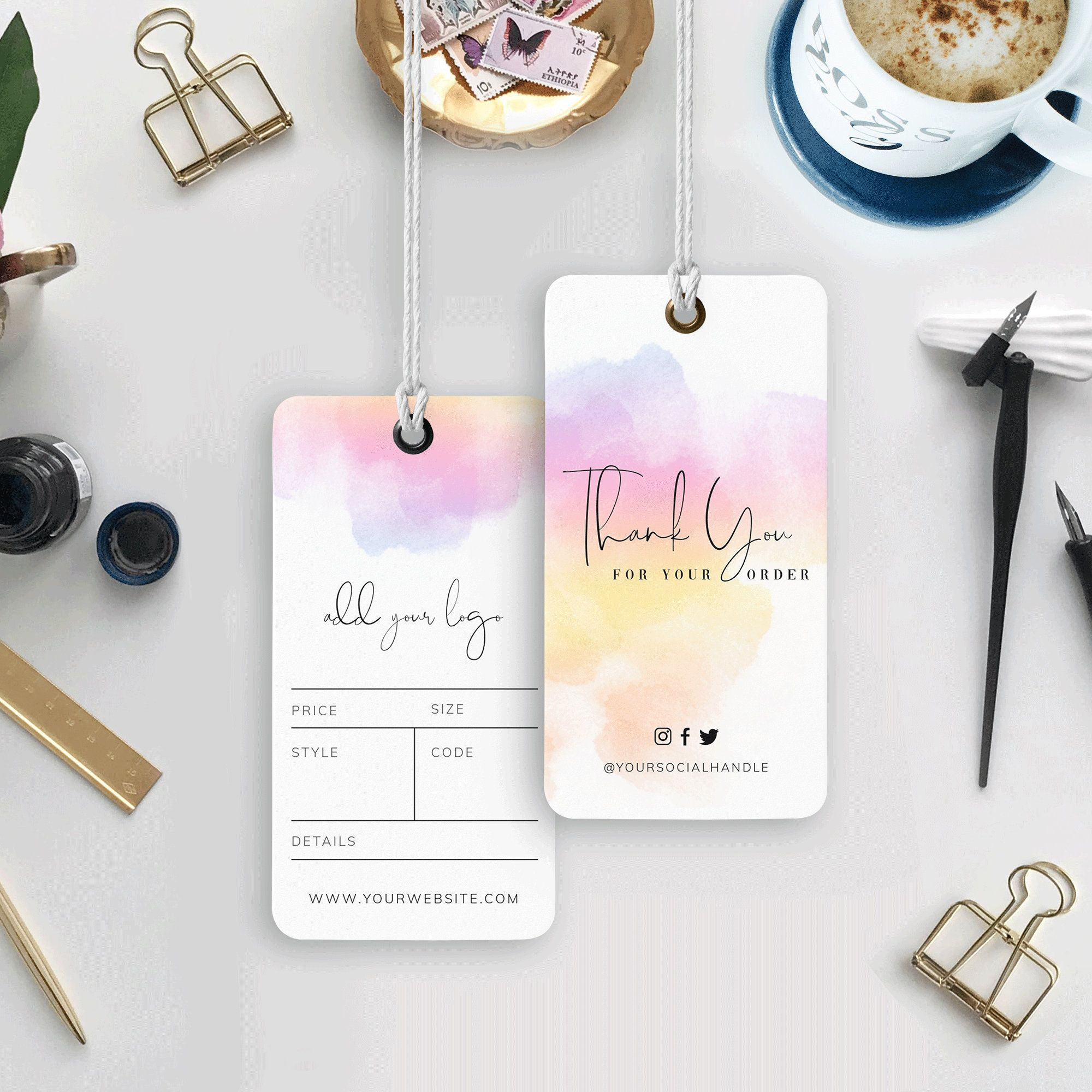 Editable Swing Tag Template Thank You For Your Order Tags Etsy In 2020 Hang Tags Tag Template Stationery Templates