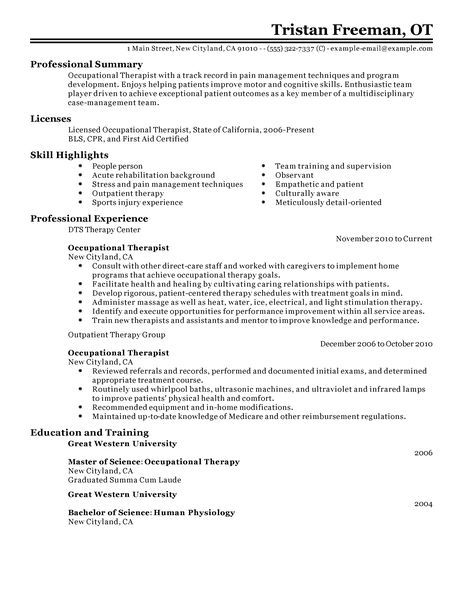 Best Occupational Therapist Resume Example LiveCareer School