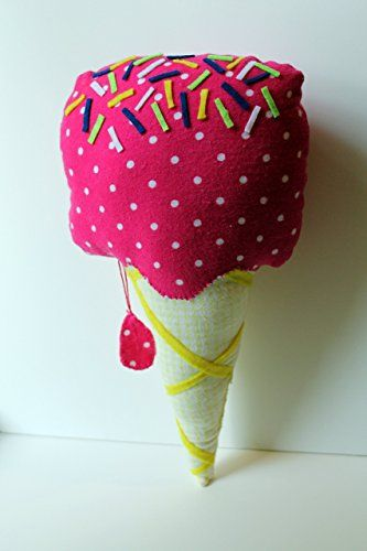 handmade christmas gifts big stuffed ice cream cone plush with hot pink