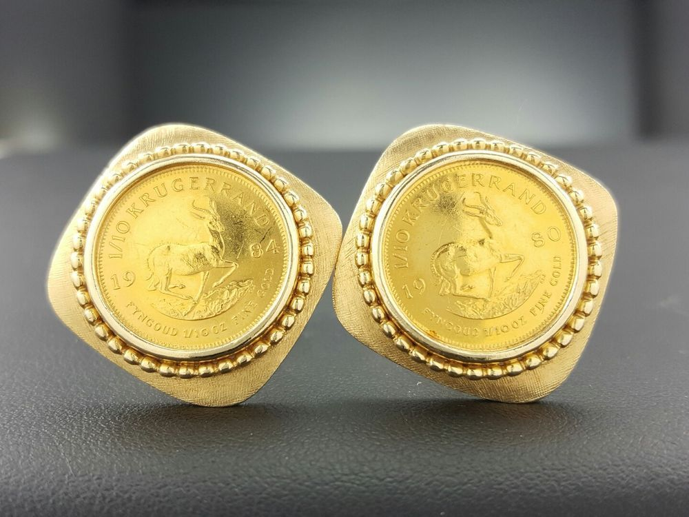 1984 South African 22k Gold 1 X2f 10 Krugerrand Cion In 14k Gold Cuff Links Jewelry Amp Watches Men 39 S Jewe Gold Cufflinks 14k Gold Cuff Mens Jewelry