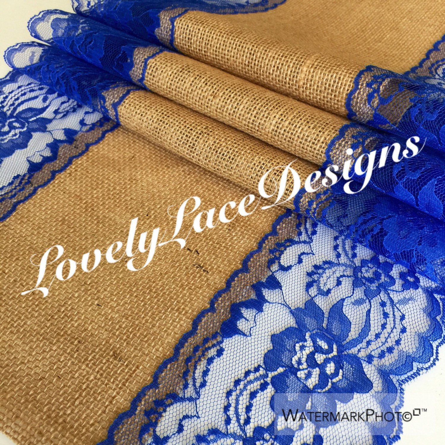 30ft Burlap Table Runner Royal Blue 13in Wide Lace Table Runner