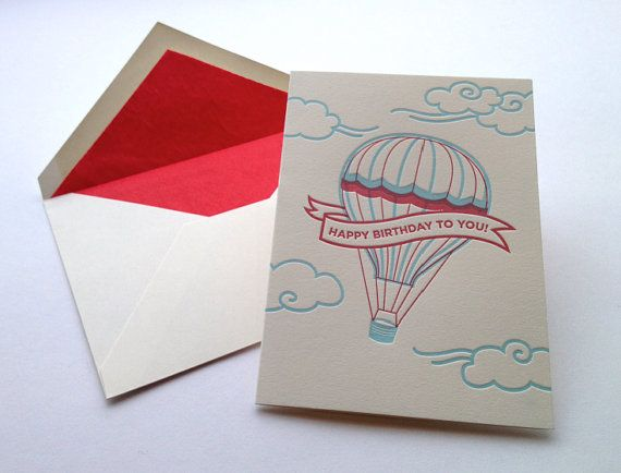 Letterpress hot air balloon birthday card balloon theme birthday letterpress hot air balloon birthday card bookmarktalkfo Image collections