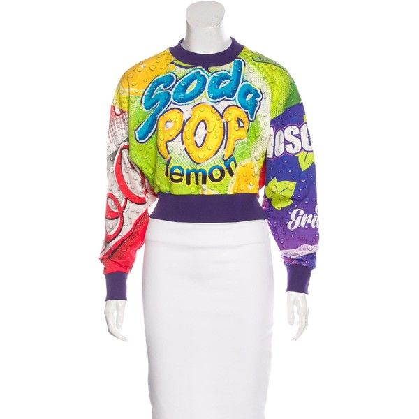 1ddea47721b892 Pre-owned Moschino Couture Graphic Print Cropped Sweater (6 530 UAH) ❤ liked