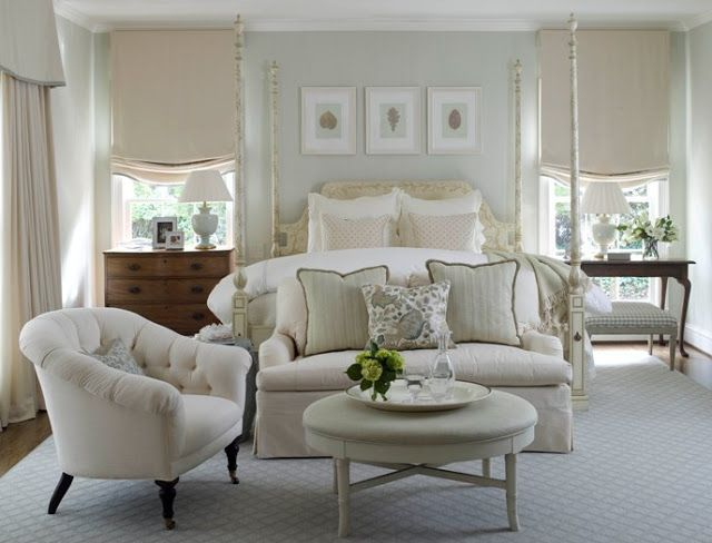 sofa at end of bed Wall color soft very pale sage green