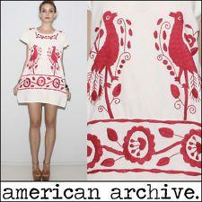 vtg 70s RARE BIRDS boho Mexican Floral EMBROIDER ethnic Festival Tent Mini DRESS