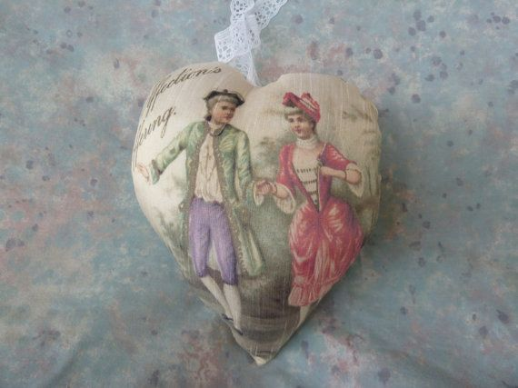Valentine Heart Pillow made from Vintage Prints by Maisonvogue, $13.00
