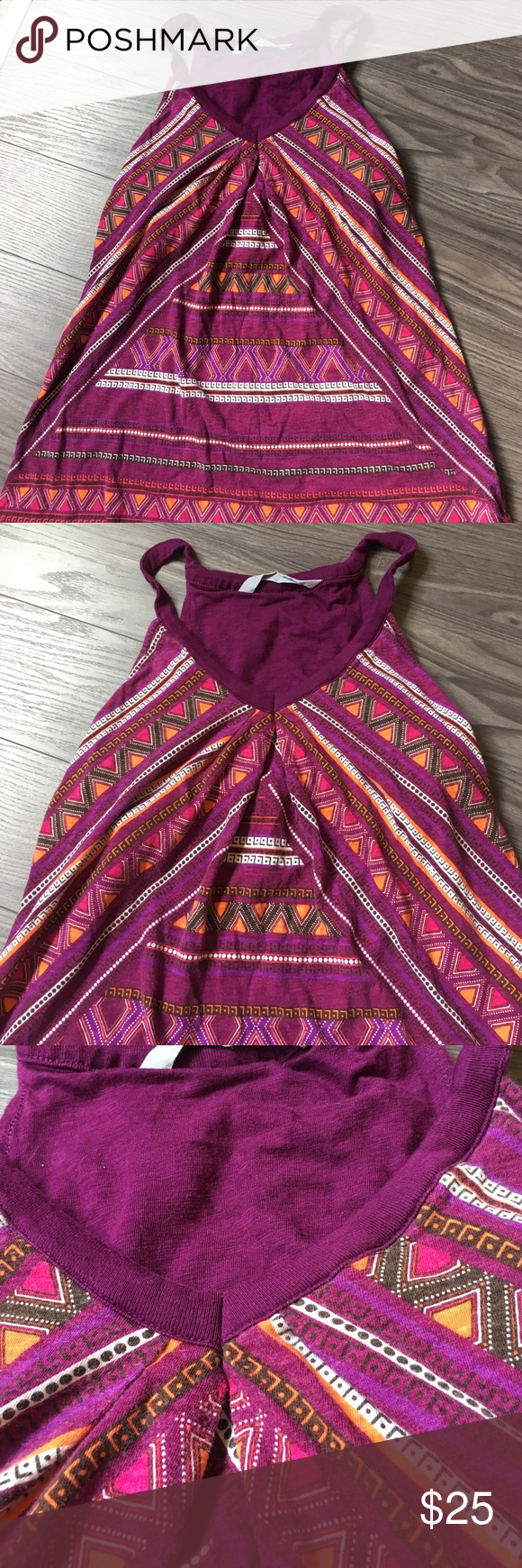 Althleta Tank Top with/ built in bra. Gorgeous Athleta tank with a pretty Aztec style pattern. Perfect for spring & summer! Size medium. Built in bra! Athleta Tops Tank Tops