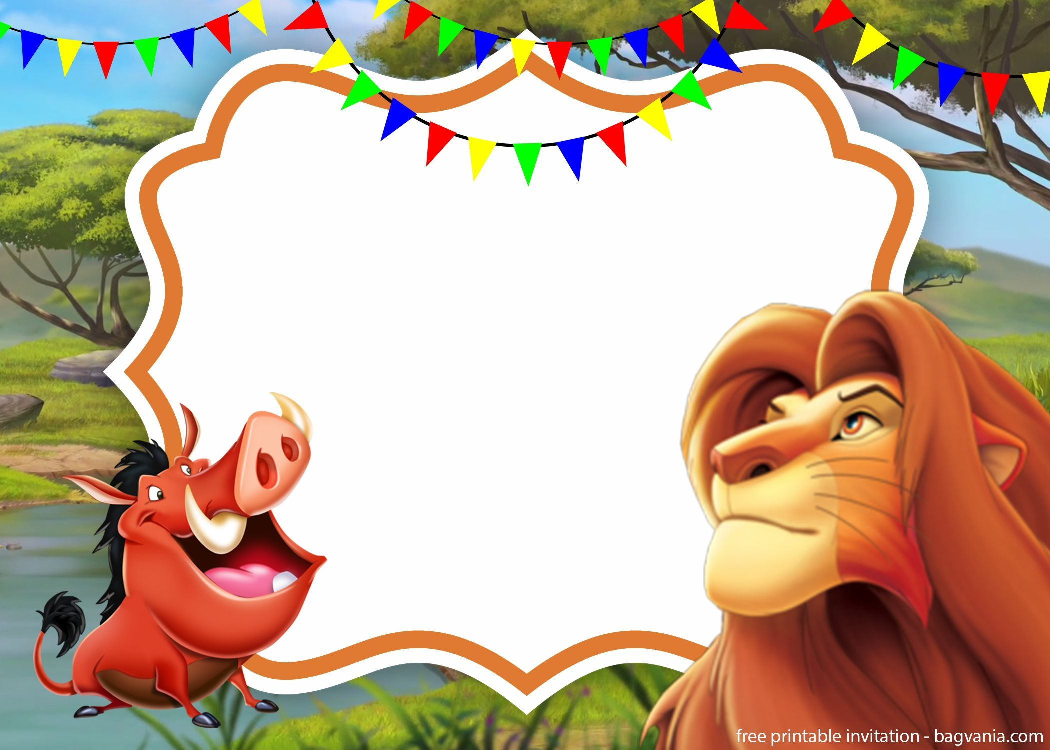 simba lion king invitation template