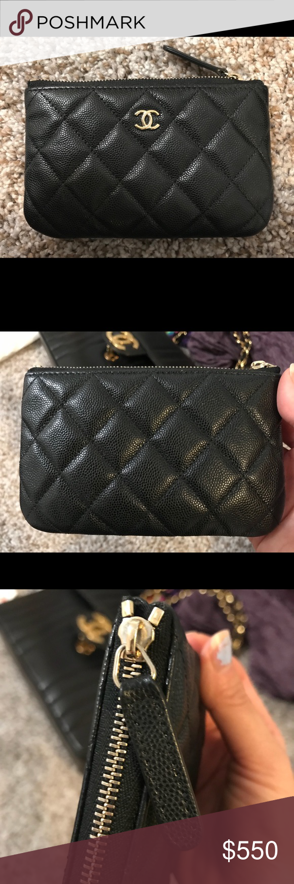 Chanel Black Caviar GHW Mini O case card cosmetic Like new, light scuffs.  Wear on the zipper area. Comes with dust bag, card and box. CHANEL Bags  Wallets 537e69f114