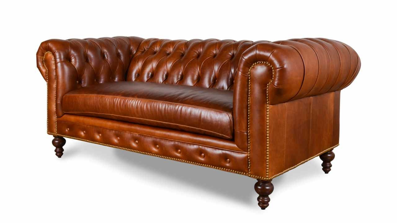 Classic Chesterfield Leather Loveseat - Made in USA ...