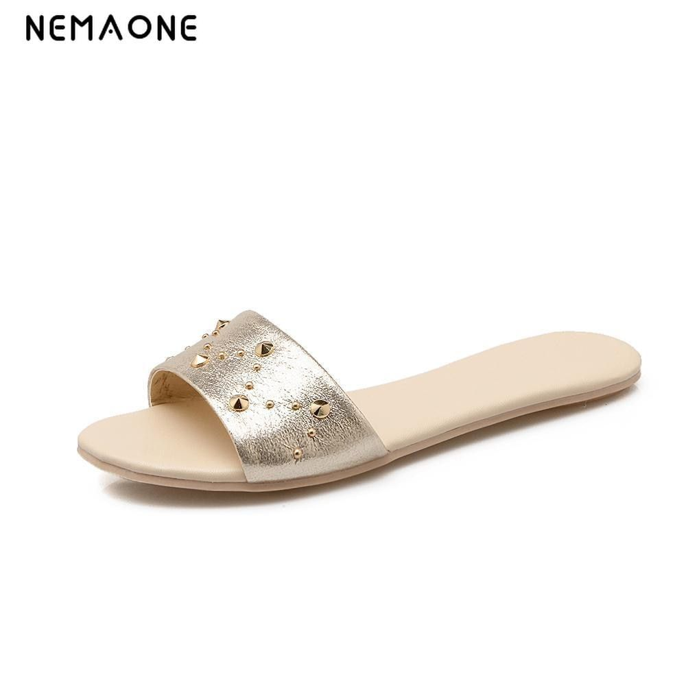 NEMAONE New 2019 women flip flops Beach sandals fashion Bling slippers  summer women flats shoes woman ee1ee516a9b7