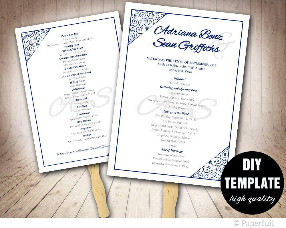 Blue Wedding Program Template Modern Wedding Fan Program Diy