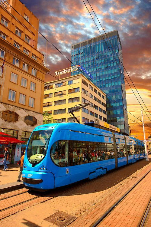 Modern Tram In The Square Of Ban Josip Jelacic Zagreb Croatia By Paul E Kroatie