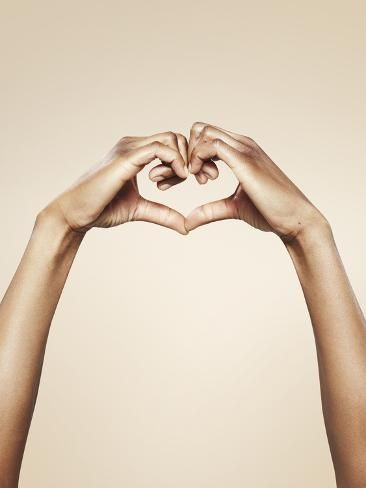 size: 16x12in Photographic Print: Hands Forming a Cute Heart Shape :