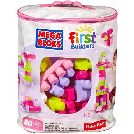 Mega Bloks First Builders Big Building Bag With Big Building Blocks Building Toys For Toddlers 80 Pieces Walmart Com Toys For 1 Year Old Learning Toys For Toddlers Baby Girl Toys