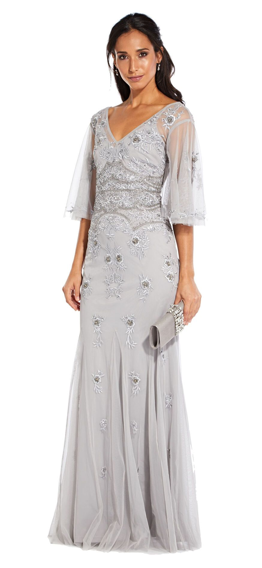Floral Beaded Gown with Sheer Flutter Sleeves Beaded